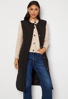 ONLY Nayra S/L Long Quilt Vest Black Bubbleroom.dk