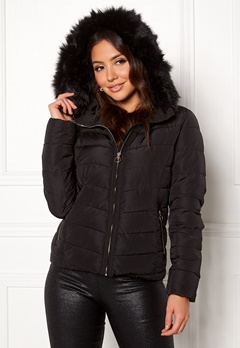 ONLY New Ellan Quilted Jacket Black/Black Fur Bubbleroom.dk