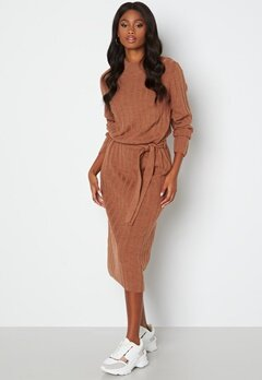 ONLY New Tessa L/S O-Neck Dress Argan Oil Det: Melan bubbleroom.dk