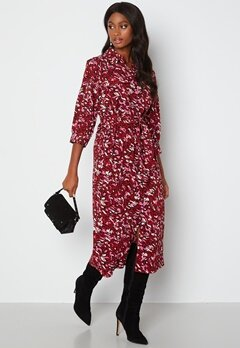 ONLY Nova Lux 3/4 Long Shirt Dress Red Dahilia bubbleroom.dk