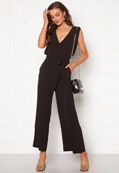 ONLY Nova Lux S/L Wrap Jumpsuit Black Bubbleroom.dk