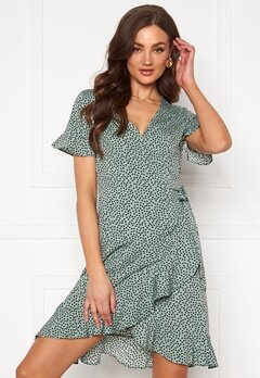 ONLY Olivia S/S Wrap Dress Chinois Green Bubbleroom.dk