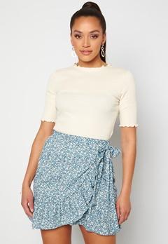 ONLY Olivia Wrap Skirt Dusk Blue/ Flower<br>  Bubbleroom.dk