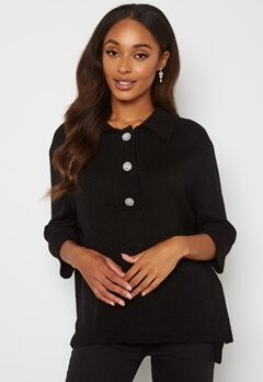 ONLY Paloma 2/4 Polo Pullover Black bubbleroom.dk
