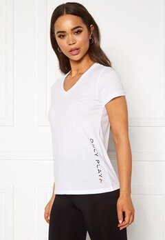 ONLY PLAY Performance ATHL V-Neck SS Tee White Bubbleroom.dk