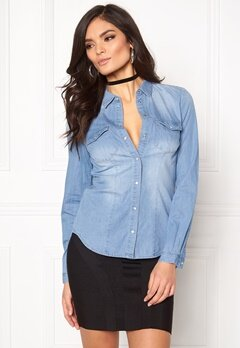 ONLY Rock It Fit Denim Shirt Light Blue Denim Bubbleroom.dk