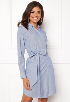 ONLY Rosel LS Wrap Dress Medium Blue Denim Bubbleroom.dk