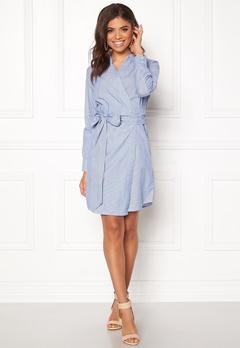 ONLY Rosel LS Wrap Dress Medium Blue Denim Bubbleroom.dk