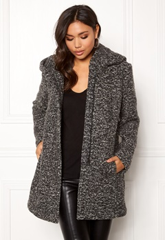 ONLY Sedona Boucle Wool Coat Dark Grey Melange Bubbleroom.dk