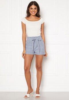 ONLY Smilla Stripe Belt Shorts Medium Blue Denim Bubbleroom.dk
