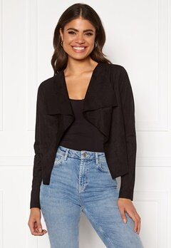 ONLY Stacy Drapy Faux Suede Jacket Black Bubbleroom.dk