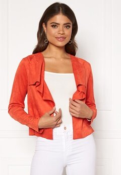 ONLY Stacy Drapy Faux Suede Jacket Spicy Orange Bubbleroom.dk