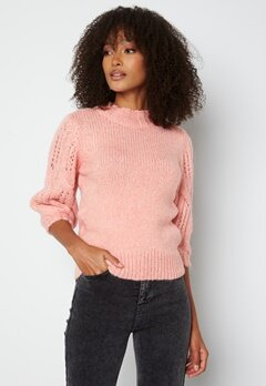 ONLY Sussie Wool 3/4 Highneck Pullover Silver Pink bubbleroom.dk