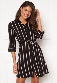 ONLY Tamari 3/4 Shirt Dress Black, Stripes Bubbleroom.dk