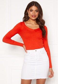 ONLY Tanzia L/S V-Neck Pullover KNT Spicy Orange Bubbleroom.dk