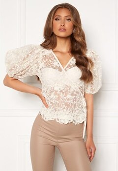 ONLY Temple Lace Puff Top Creme<br>  Bubbleroom.dk