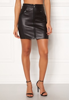 ONLY Violet Faux Leather Skirt Black Bubbleroom.dk