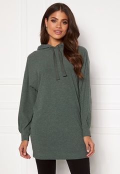 ONLY Zoe L/S Sweat Dress Balsam Green Bubbleroom.dk