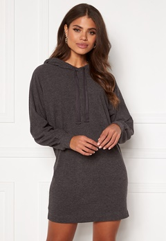 ONLY Zoe L/S Sweat Dress Dark Grey Melange Bubbleroom.dk