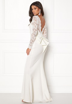 Goddiva Open Back Lace Dress White Bubbleroom.dk