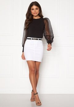 Pieces Aia MW Denim Skirt Bright White Bubbleroom.dk