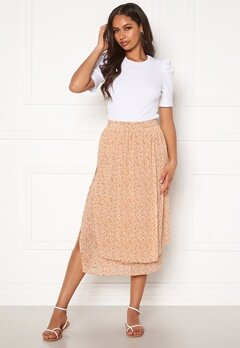 Pieces Anabelle HW Midi Skirt Apricot AOP Flower Bubbleroom.dk