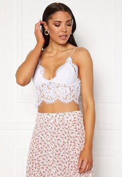 Pieces Aura Lace Top Bright White Bubbleroom.dk