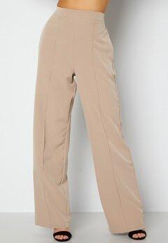 Pieces Bossy HW Wide Pants Silver Mink bubbleroom.dk