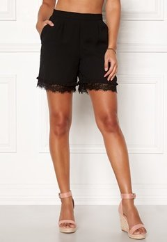 Pieces Brook MW Shorts Black Bubbleroom.dk