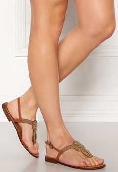 Pieces Carmensia Leather Sandals Gold Colour Bubbleroom.dk