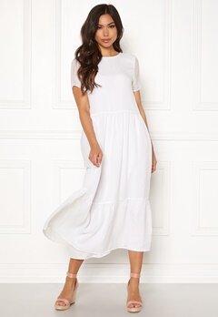 Pieces Casandra SS Midi Dress Bright White Bubbleroom.dk