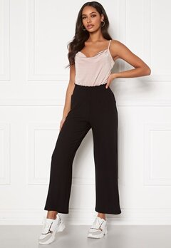 Pieces Curl HW Cropped Pants Black Bubbleroom.dk