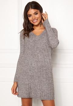 Pieces Fanni LS Long Wool Knit Light Grey Melange Bubbleroom.dk