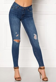 Pieces Five Delly Ankle Jeans Dark Blue Denim Bubbleroom.dk