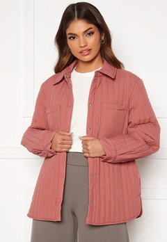 Pieces Gretzel Quilted Overshirt Canyon Rose Bubbleroom.dk