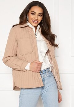 Pieces Gretzel Quilted Overshirt Warm Taupe Bubbleroom.dk