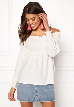 Pieces Gurli LS Offshoulder Top Cloud Dance Bubbleroom.dk