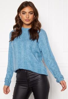 Pieces Hara LS O-Neck Knit Alaska Blue Bubbleroom.dk