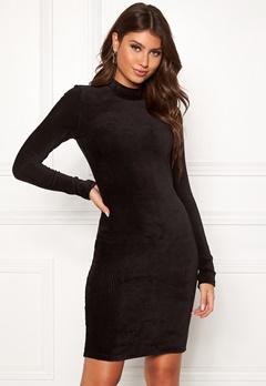 Pieces Indira LS T-Neck Dress Black Bubbleroom.dk