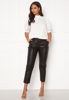 Pieces Ivina MW Cropped Pants Black Bubbleroom.dk