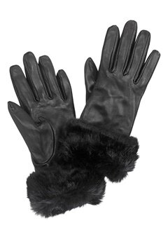 Pieces Janna Leather Glove Black Bubbleroom.dk