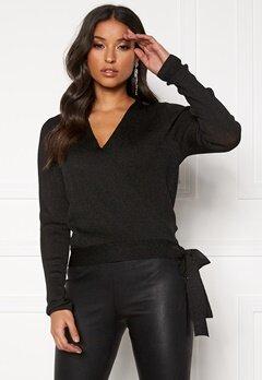Pieces Jenna LS Lurex Wrap Knit Black/Lurex Bubbleroom.dk