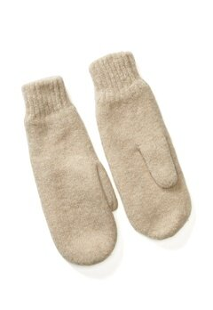 Pieces Kimme Wool Mittens White Pepper Bubbleroom.dk