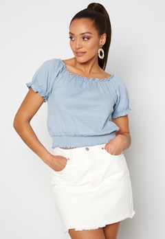 Pieces Leaf Ss Cropped Smock Top Kentucky Blue bubbleroom.dk