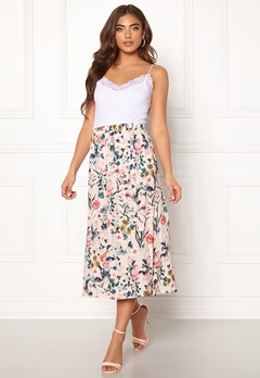 Pieces Liv HW Midi Skirt Lotus/Flowers Bubbleroom.dk