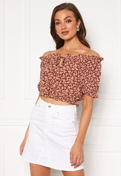 Pieces Maggie SS Cropped Top Copper Brown Bubbleroom.dk