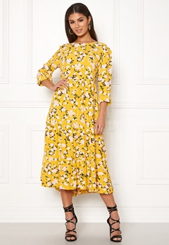 d4b58e8a5720 Pieces Megan LS Medi Dress Ceylon Yellow Bubbleroom.dk