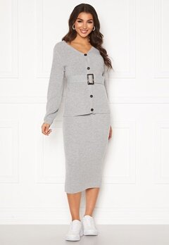Pieces Milla HW Midi Knit Skirt Light Grey Melange Bubbleroom.dk