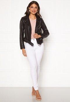 Pieces Nicoline Leather Jacket Black Bubbleroom.dk