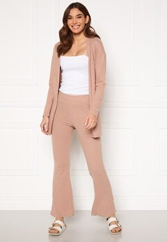 Pieces Pam MW Flared Pant Warm Taupe Bubbleroom.dk